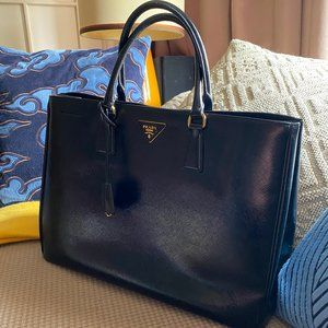 PRADA SAFFIANO LARGE LUX TOTE GLAZED LEATHER